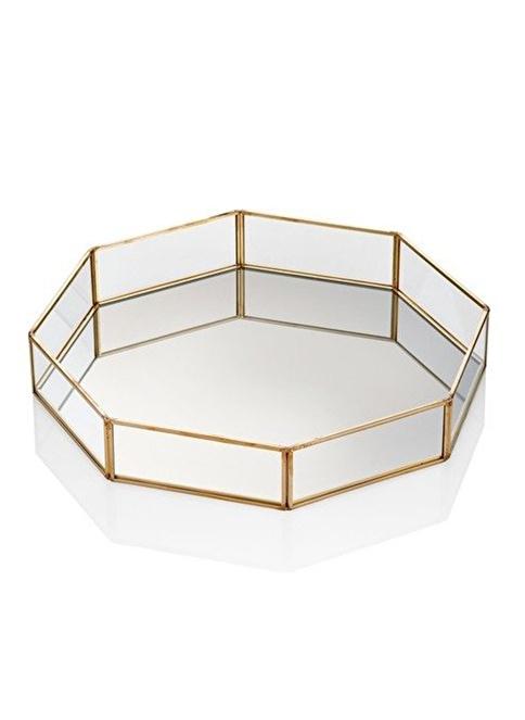 The Mia Brass Dekor Tepsi 31 x 31 Cm Renksiz